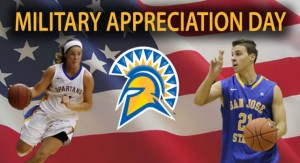A female (left) and male (right) basketball player with Spartan head (center). Background is american flag.