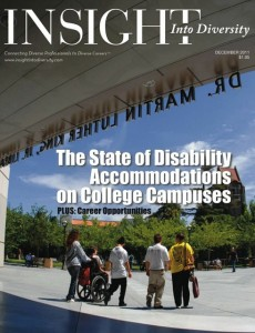 Magazine cover showing student group including one in wheelchair outside King Library.