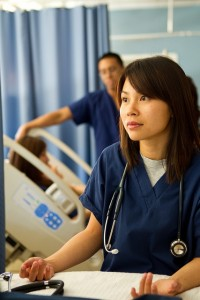 portrait of nursing student in simulation lab