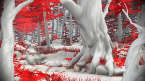An animated illustration of a forest of trees covered with snow.