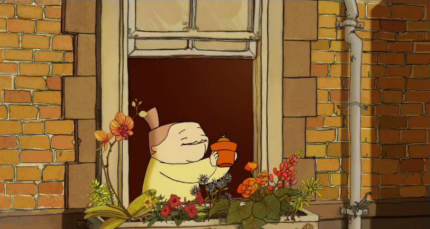 "Woman holding potted plant, while standing near window with potted plants in Cinequest animation ""Bloom."" Courtesy of Emily Johnstone."