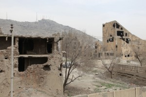 Bombed buildings in Kabul (Guerrazzi image).