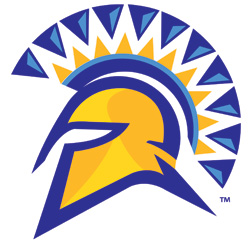 SJSU Spartan Shield blue and gold in color.
