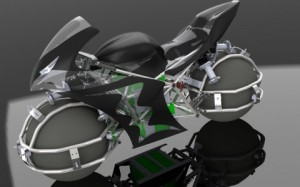 Computer rendering of silver, black and green futuristic motorcycle with spherical wheels. (Courtesy of Spherical Drive System)