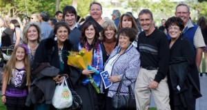 A group photo with a Communicative Disorders and Sciences grad and her family. Photo by Christina Olivas.
