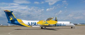 A blue, gold, and white Alaska Airlines plane with Spartan logos. Illustration by @squinte6