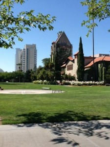 Landscape photo of Tower Lawn with Tower Hall and San Jose City Hall in the background. Photo tweeted by @gabemeistersp.