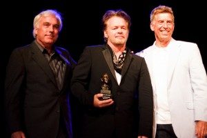 Mellencamp (center) with Paul Douglass (left), director of the Martha Heasley Cox Center for Steinbeck Studies, and Robert Santelli (right), executive director of the Grammy Museum (Christina Olivas photo).