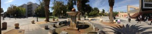 Panoramic photo of San Jose State campus with 7th Street Fountain and Event Center. Photo by @pdparticle