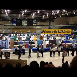 Inside look at the Fall 2012 Job and Internship Fair at the event center with tables, booths and employee representatives. Photo by @alyssaloook