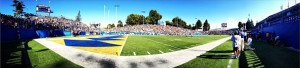 panoramic photo of Spartan Stadium on a sunny day during the Homecoming Game