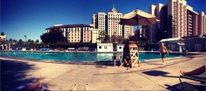 View of the Aquatic Center's pool and Campus Village