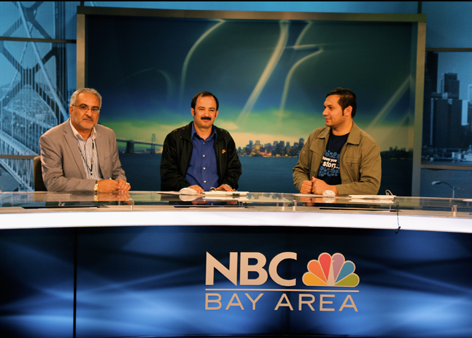 Three men sitting at NBC Bay Area news desk. Photo by Jessica Olthof.