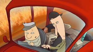 Old man and younger man riding in a car