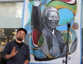 Artist Francisco Ramirez  created this acrylic painting  in memory of Nelson Mandela.