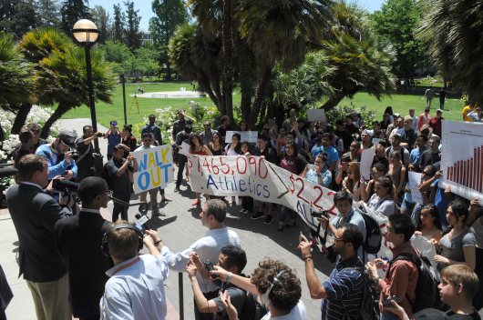 a protest on Tuesday focused on SJSU's Student Success, Excellence and Technology Fee