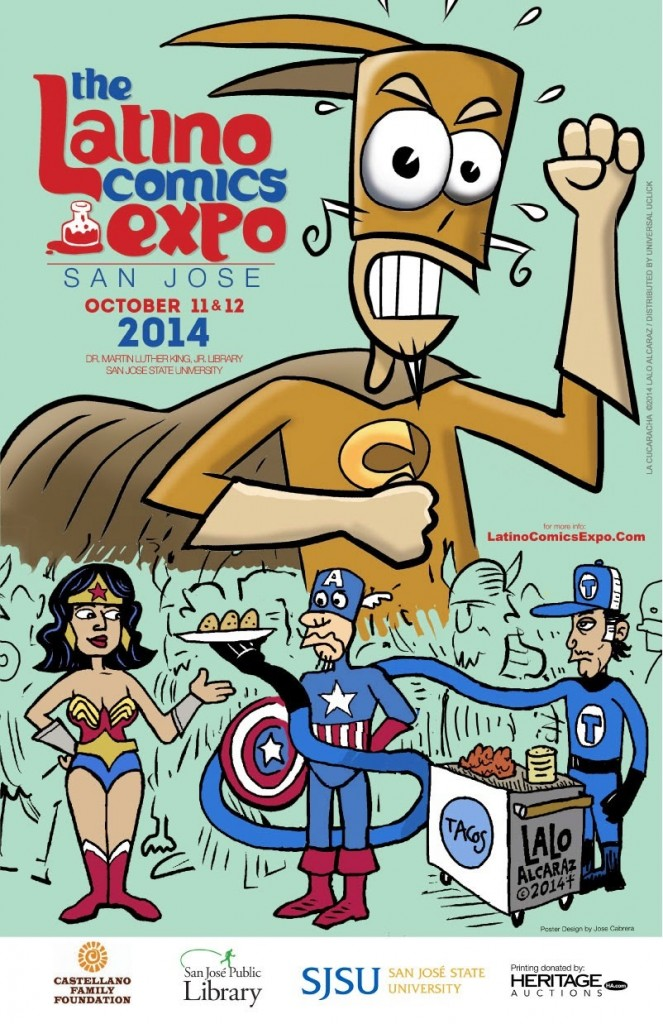 Latino Comics Expo poster features Lalo Alcaraz.