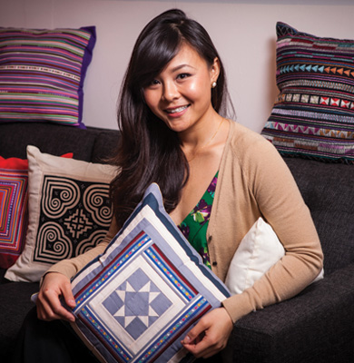 Aimi Duong with pillow covers