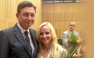 Ana Lukner with Slovenian President Borut Pahor