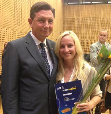 Slovenian President Borut Pahor with Ana Lukner.