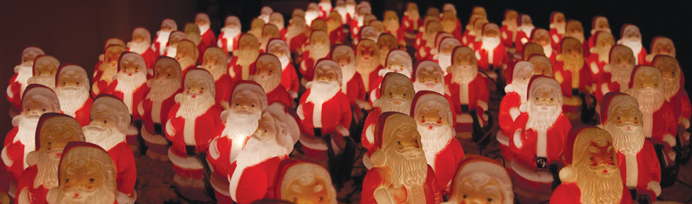 Willis' collection of vintage light-up Empire Plastics Santas