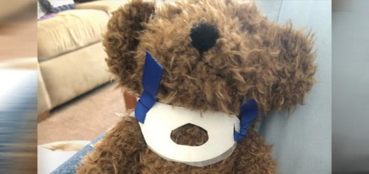 Teddy bear that is used to demonstrate tracheostomy care.