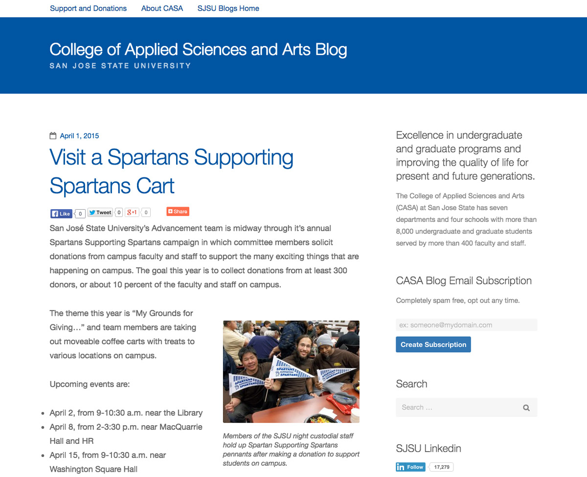 Sample blog with SJSU's theme applied.