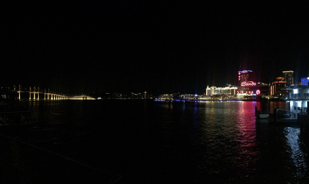 Night view of Macau from ferry dock.