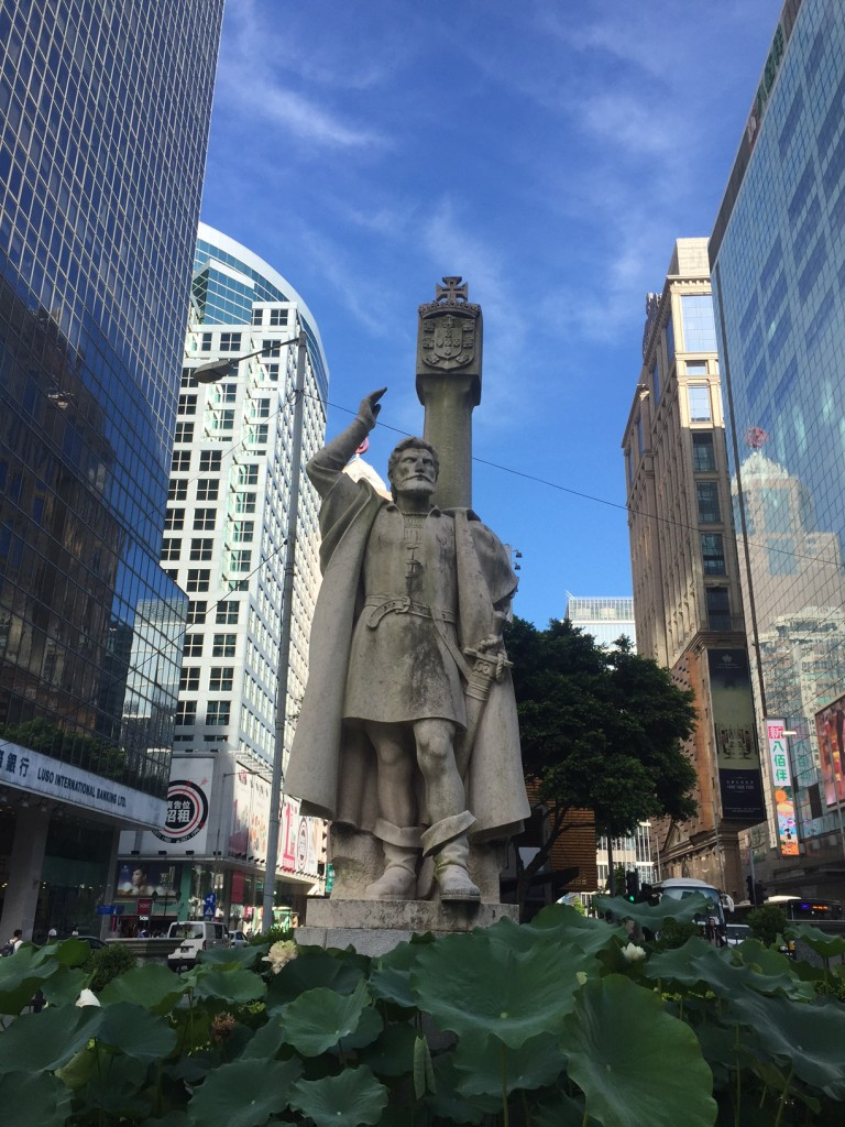 Statue of Jorge Alvares, the first recorded Portuguese navigator to visit China, on the Praia Grande.