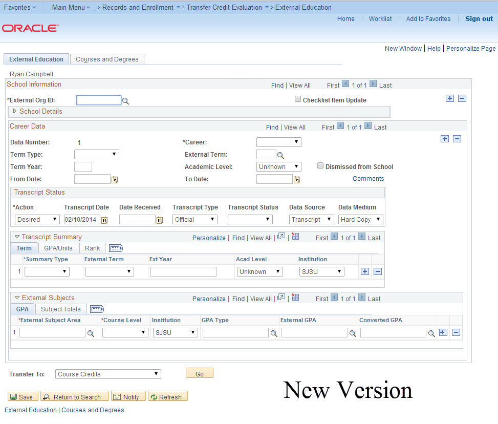 New version of MySJSU (PeopleSoft) database