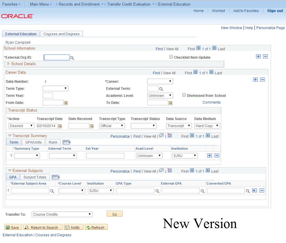 New version of MySJSU (PeopleSoft) database