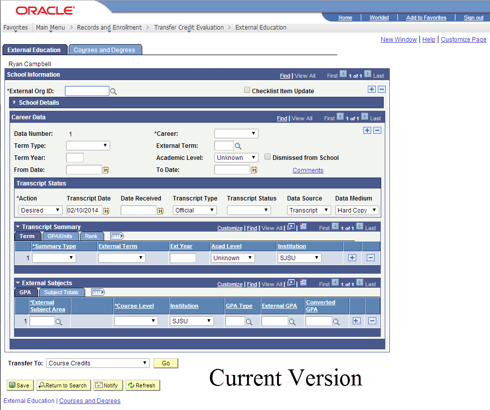Current version of MySJSU (PeopleSoft) database