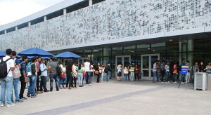 New engineering graduate students line up outside the student union on Aug. 14 for orientation. More than 1,700 students attended.