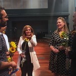 Marianne Wheeler, second from the right, talks with some of her former students at the International Gateways 40th anniversary celebration.