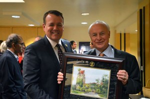 Provost Andy Feinstein, left, presented Dean David Steele with a plaque commemorating his service to San Jose State at a farewell reception Nov. 13.