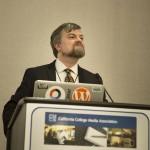 SJSU Professor Richard Craig speaks at a California College Media Association event in February.