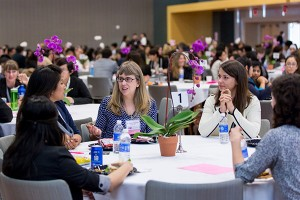Photo by David Schmitz SJSU students engage with industry professionals at the Women in Engineering Conference that brought more than 300 people together.