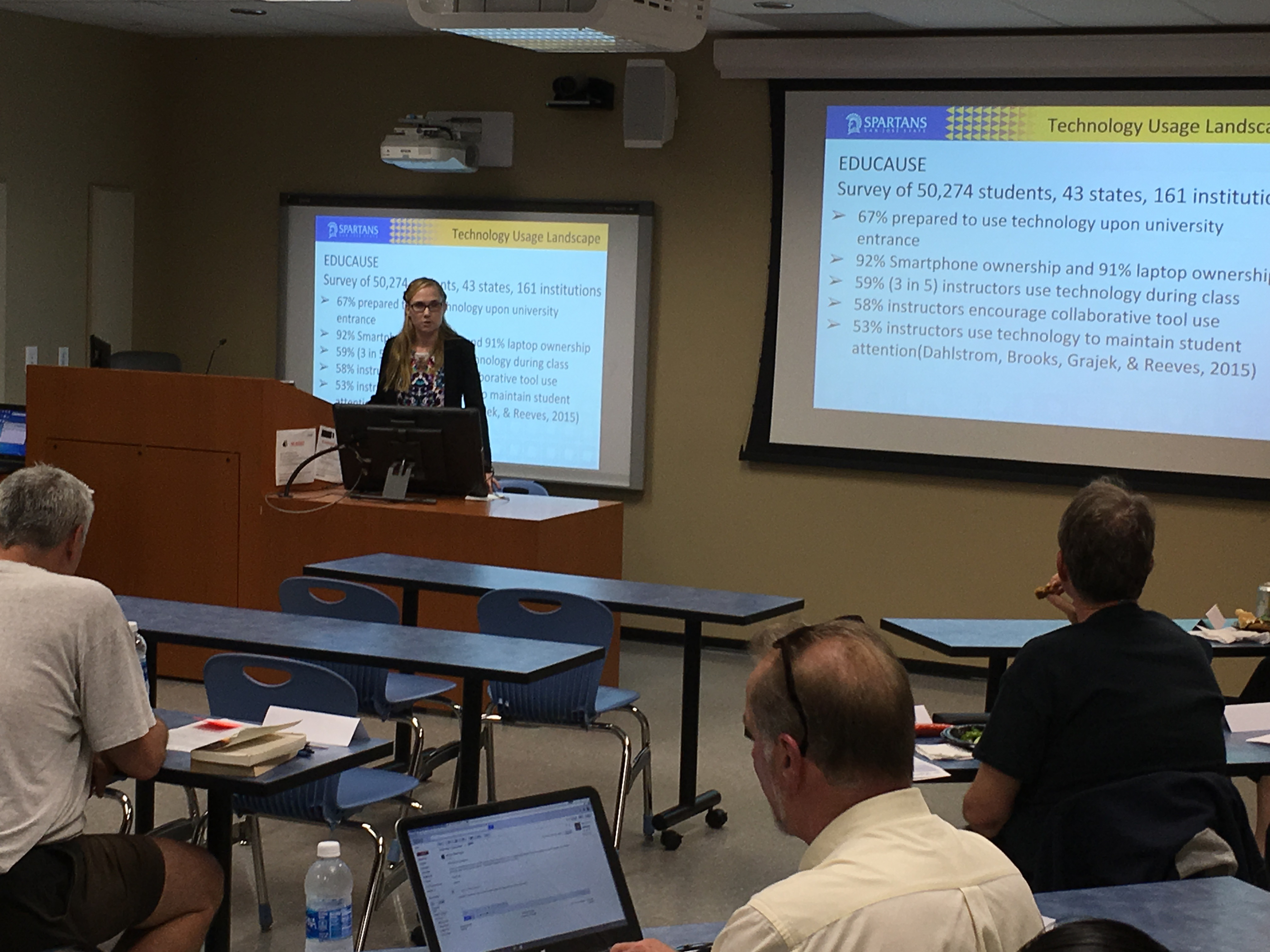 Jennifer Redd presents some statistics to faculty on use of technology in classrooms.
