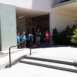 Silicon Valley YMCA Day Camp students learn where they can become a teacher as part of a scavenger hunt of SJSU's campus. Here, they stand outside Sweeney Hall, home of the Connie L. Lurie College of Education.