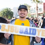 A student visits SJSU for Admitted Spartans Day.
