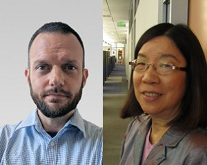 Bernd Becker, left, and Diana Wu, have been recognized for prolific research, with the most publications in their areas of expertise in the nation for the last five years.