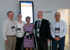 Photo courtesy of Resa Kelly Chemistry Professor Resa Kelly, second from the left, presented research on using visual animations in teaching chemistry this summer. Here she is pictured with colleagues at a meeting in Brazil.