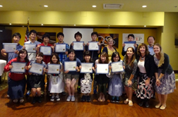 Kyushu Univeristy students hold up certificates after completing English-language courses at San Jose State University.