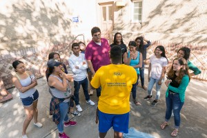 Photo by David Schmitz Students in the Spartan Scholars Program gather with a peer mentor after class. The Koret Foundation gave $2 million to SJSU to support student success initiatives, including the Spartan Scholars Program.