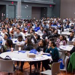 High school students from Santa Clara County schools listen to speakers in the Diaz Compean Student Ballroom at the African American College Readiness Summit.