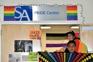 Photo: Melissa Anderson Peers in Pride mentors Ai Nakamura and Abdullah Deen work with incoming first-year and transfer LGBTQI students to help them acclimate to SJSU.