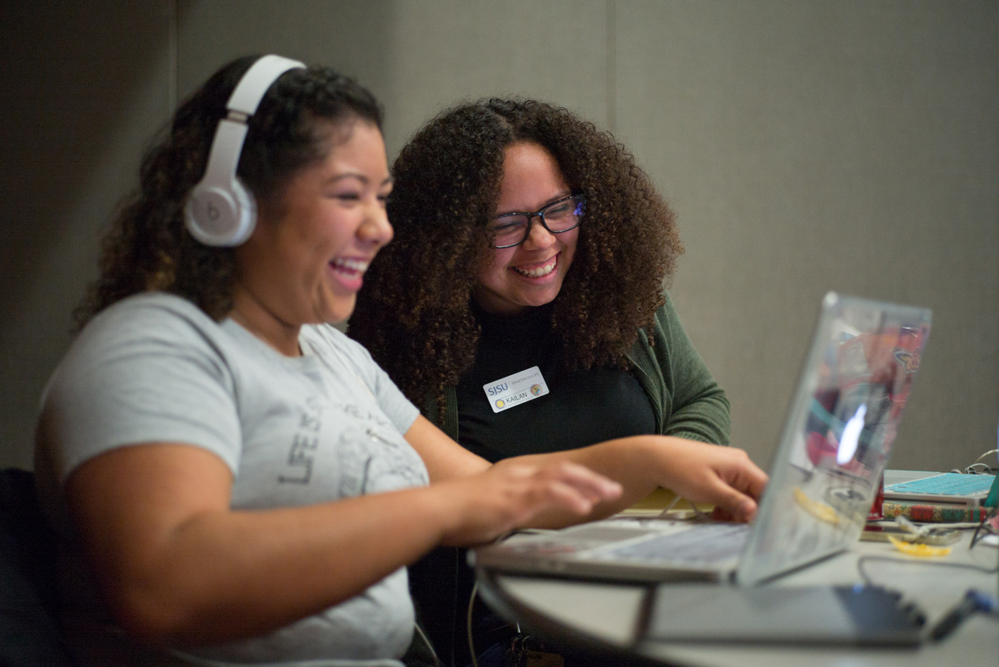 SJSU and Adobe co-hosted Adobe CreativeJam, where graphic design students learn from design professionals and compete in a tournament. (Photo: James Tensuan, '15 Journalism)