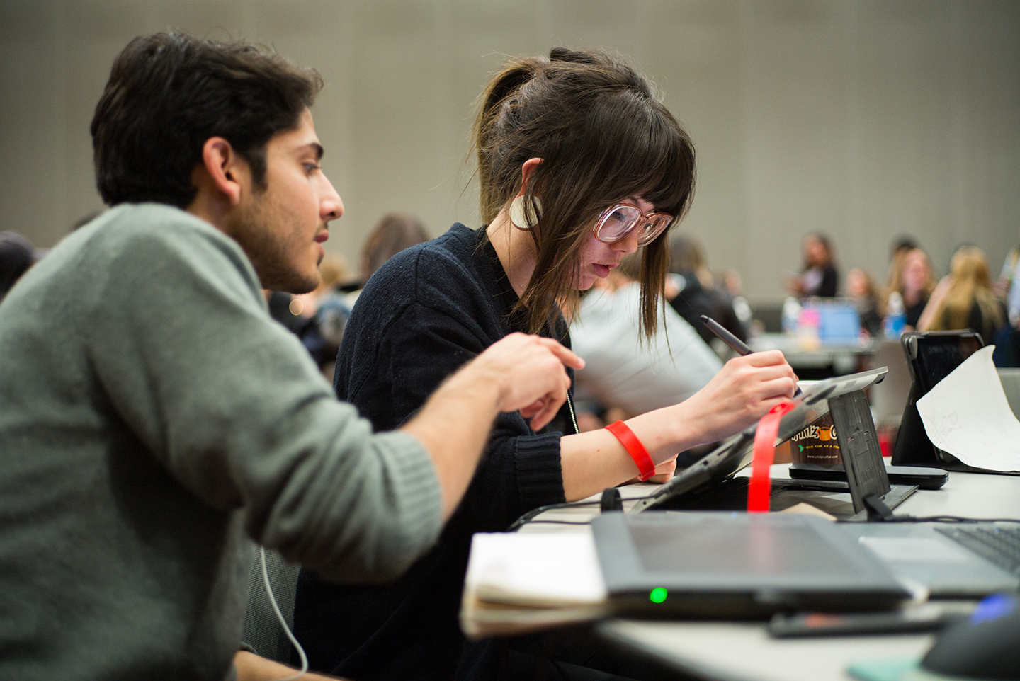 SJSU students received input from professional designers during a competition at the Adobe CreativeJam Feb. 24, co-hosted by SJSU and Adobe. (Photo: James Tensuan, '15 Journalism)