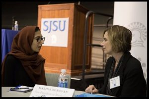 Photo: Moses Kinnah SJSU Alumna Marina Donovan, '84 Public Relations, offers career advice to a current student during the Spartan Success Series 'Major to Career Exploring the Journey' event in fall 2016.