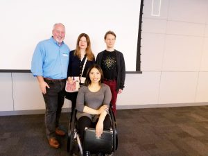 "Attendee Rosse Strada poses for a photo with panelists Joseph Fox, Karo Caran and Victor Tsaran at the ""Disablilty At Work"" Panel hosted by Communications Studies students."